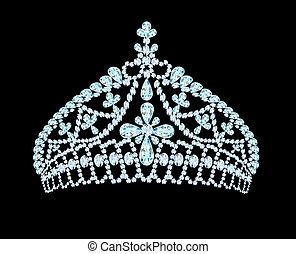kobiecy, ślub, tiara, korona, z, lekki, kamień