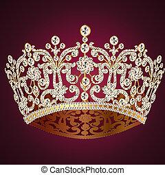 kobiecy, czerwony, korona, diadem, ślub
