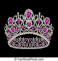 kobiecy, rubin, korona, diadem, ślub