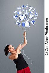 kobieta, ładny, balloon, dzierżawa, towarzyski, ikona