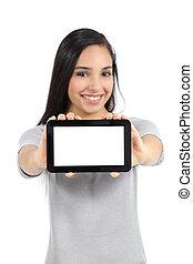 kobieta, ładny, poziomy, tabliczka, odizolowany, pokaz, ekran, czysty