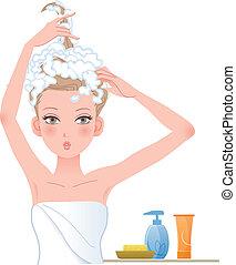 kobieta, ładny, przedstawianie, głowa, soaping, zabawny, jej
