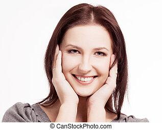 kobieta, śmiech, młody