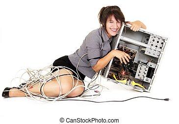 kobieta, śmiech, z, komputer