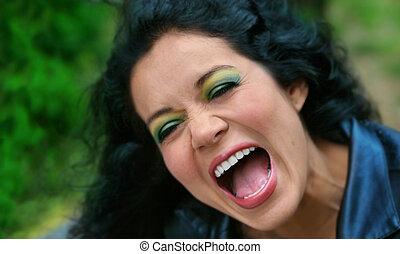 kobieta, śmiech