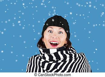kobieta, śnieg