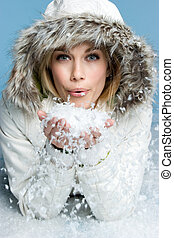 kobieta, śnieg, podmuchowy