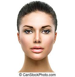 kobieta, świeży, skóra, twarz, piękny, czysty, młody