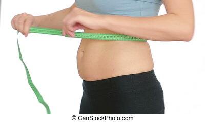 kobieta, żołądek, jej, miary, tłuszcz, belly., dziewczyna, ciągnięty
