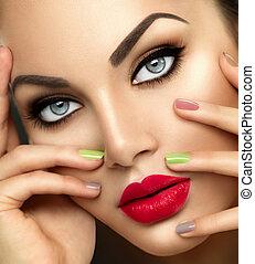 kobieta, żywy, piękno, nailpolish, makijaż, fason, barwny