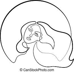 kobieta, abstrakcyjny, młody, closeup, ładny, portret