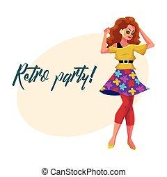 kobieta, afisz, dyskoteka, zaproszenie, retro, 80ą, partyjne ubranie
