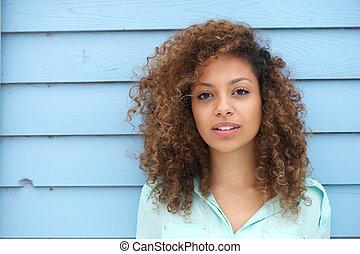 kobieta, afrykanin, piękny, młody
