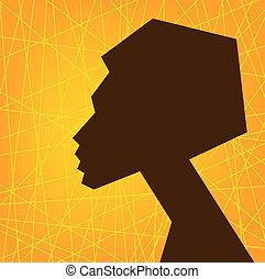kobieta, afrykanin, twarz, sylwetka