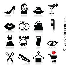 kobieta, albo, dziewczyna, fason, piękno, -