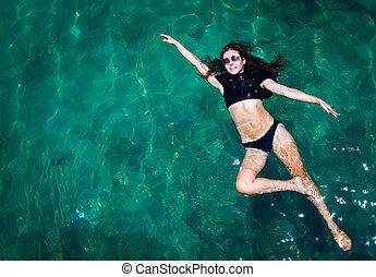 kobieta, antena, prospekt morza
