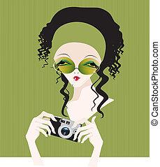 kobieta, aparat fotograficzny, dzierżawa