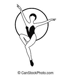 kobieta, artysta, ikona, prosty, trapez