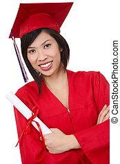 kobieta, asian, ładny, absolwent