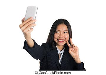 kobieta, asian handlowy, selfie