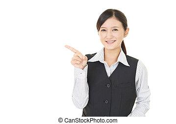 kobieta, asian handlowy, spoinowanie