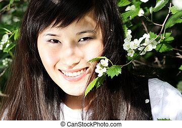 kobieta, asian, młody