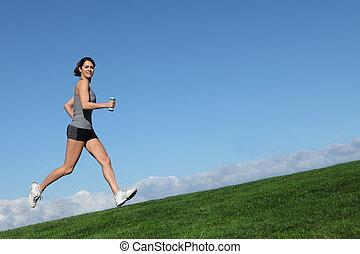 kobieta, atak, zdrowy, wyścigi, jogging, albo, poza