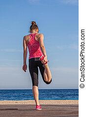 kobieta, atleta, rozciąganie, zdrowy, atak