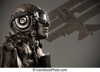 kobieta, aviator:, fason modelują, portret