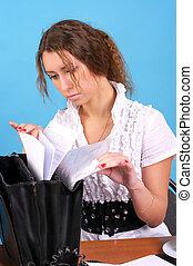 kobieta, badawczy, handlowy dokument