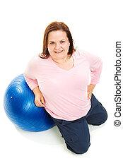 kobieta, balowe ciało, rozmiar, -, pełny, plus, pilates