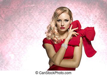 kobieta, bardzo, patrząc, blond, czerwony, ładny
