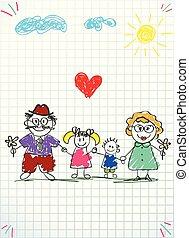 kobieta, barwny, ilustracja, ręka, wektor, dzierżawa wręcza, pociągnięty, człowiek, dzieci