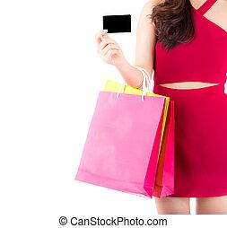 kobieta, barwny, kredyt, młody, odizolowany, torba, czerwony, papier, closeup, tło., dzierżawa, biały strój, karta, asian
