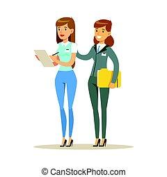 kobieta, barwny, pracujący, biuro., litera, dwa, razem, młody, wektor, ilustracja, rysunek
