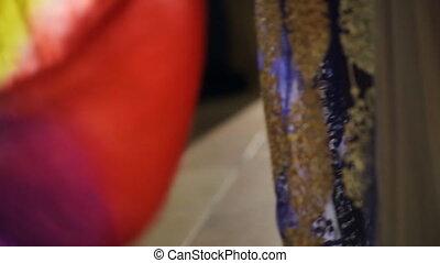 kobieta, barwny, taniec, wschodni, kostium, idzie, ...