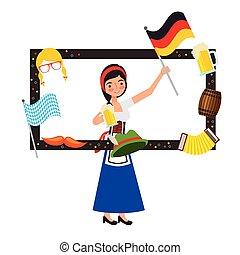 kobieta, bawarka, bandera, piwna baryłka, kapelusz, ułożyć