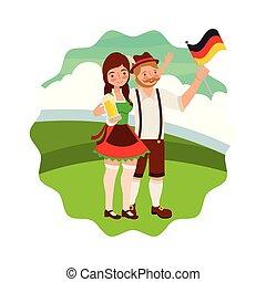 kobieta, bawarka, bandera, piwo, krajobraz, człowiek