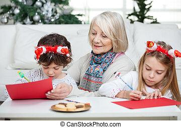 kobieta, beletrystyka, claus, pisanie, święty, rodzeństwo, senior
