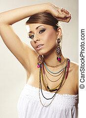 kobieta, biżuteria, fason
