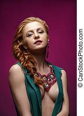 kobieta, biżuteria, fotografia, przedstawianie, rudzielec, sexy
