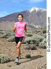 kobieta, biegacz, -, ślad bieg, krzyż-kraj