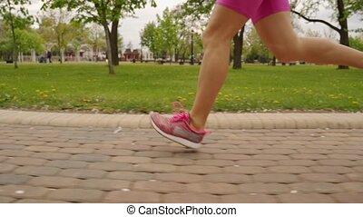 kobieta, biegacz, młody, ślad, wyścigi, nogi