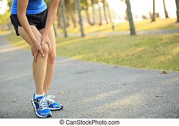 kobieta, biegacz, noga, wyrządzony, lekkoatletyka