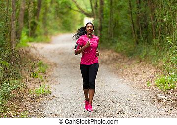 kobieta, biegacz, stosowność, ludzie, styl życia, amerykanka, -, afrykanin, outdoors, zdrowy, jogging