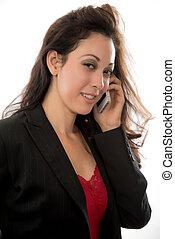 kobieta, biuro, kariera, hispanic, brunetka, pociągający