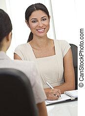 kobieta, biuro, kobieta interesu, hispanic, latina, spotkanie, albo