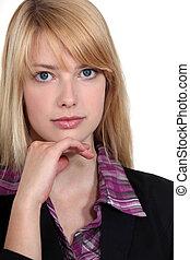 kobieta, blond, handlowy