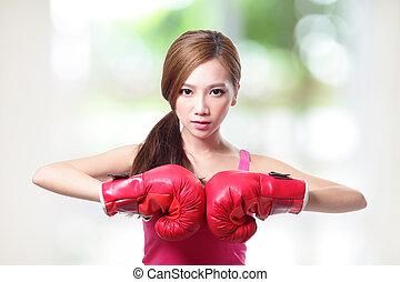 kobieta, boks, atak