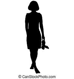 kobieta, boso, obuwie, jej, ręka